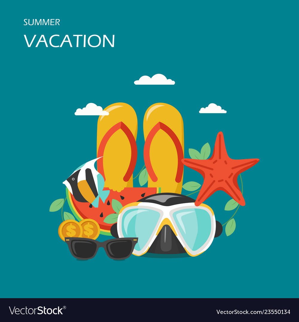 Summer vacation flat style design