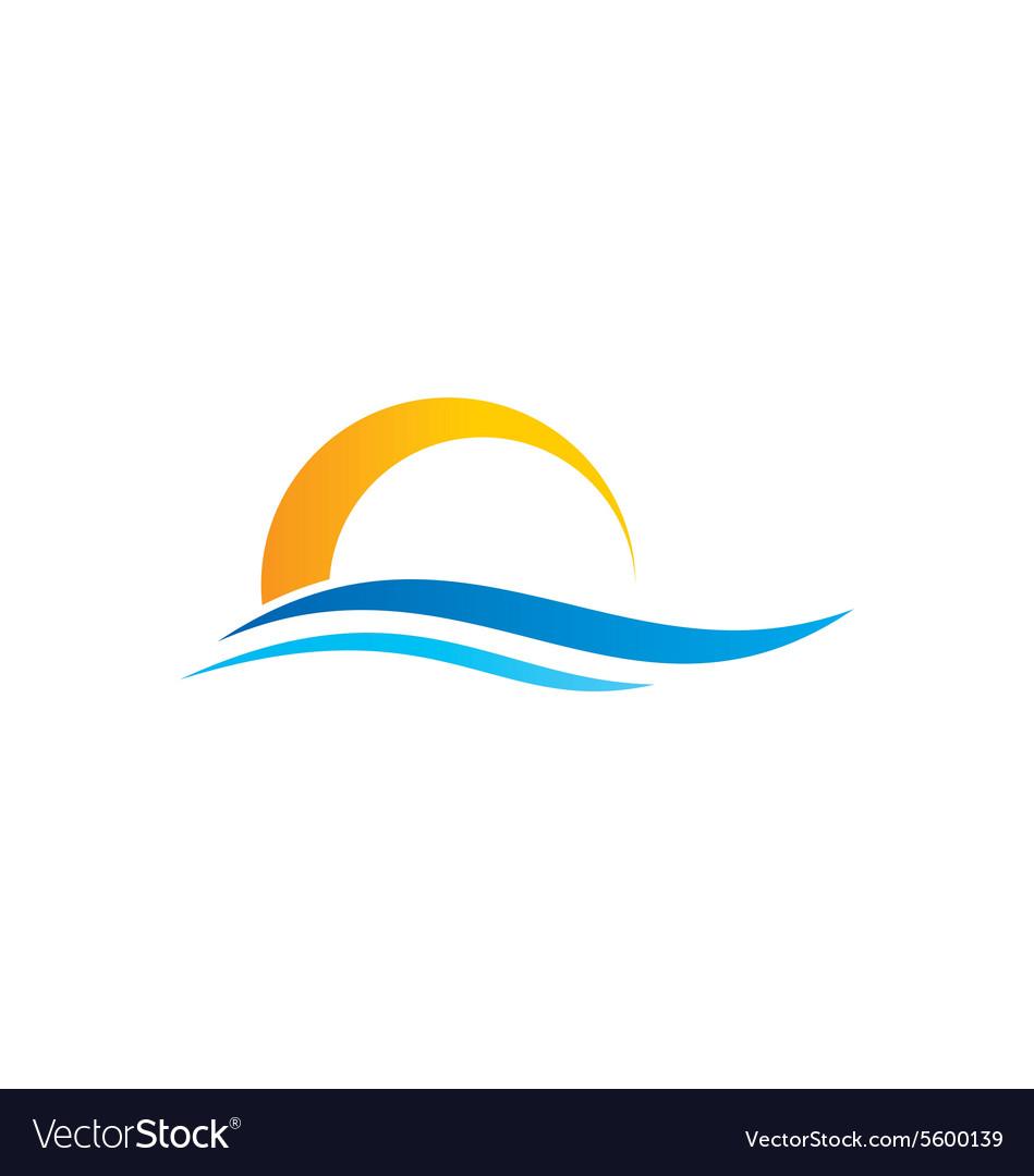Abstract water beach sunset logo