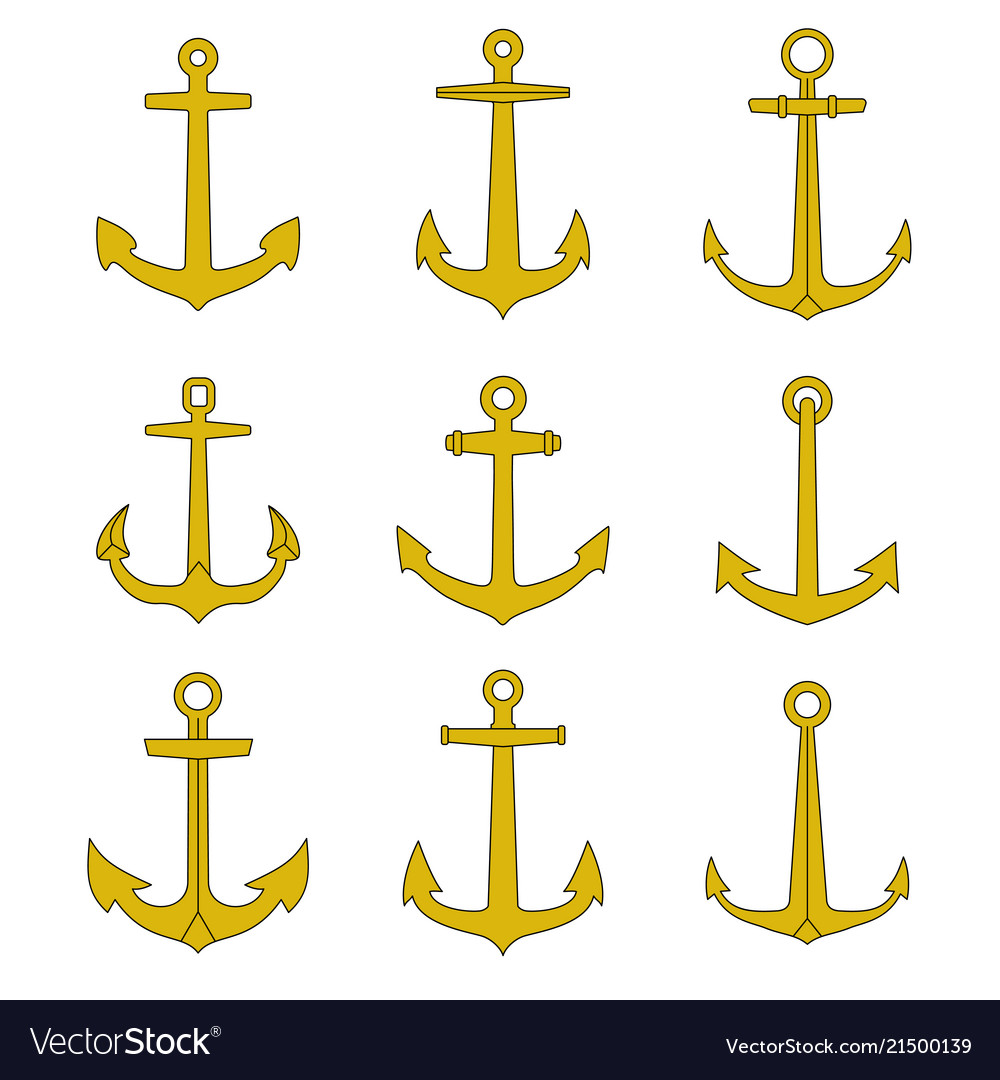 Anchor outline icons set
