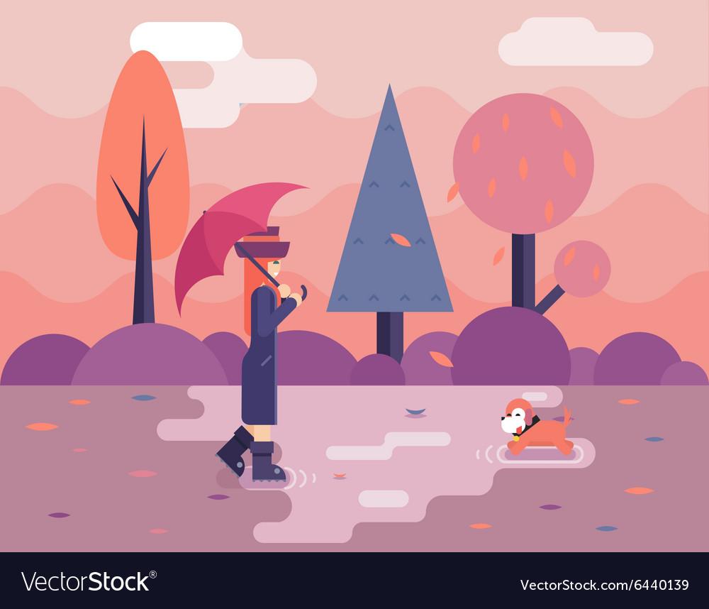 Autumn walk with dog puddles umbrella nature park