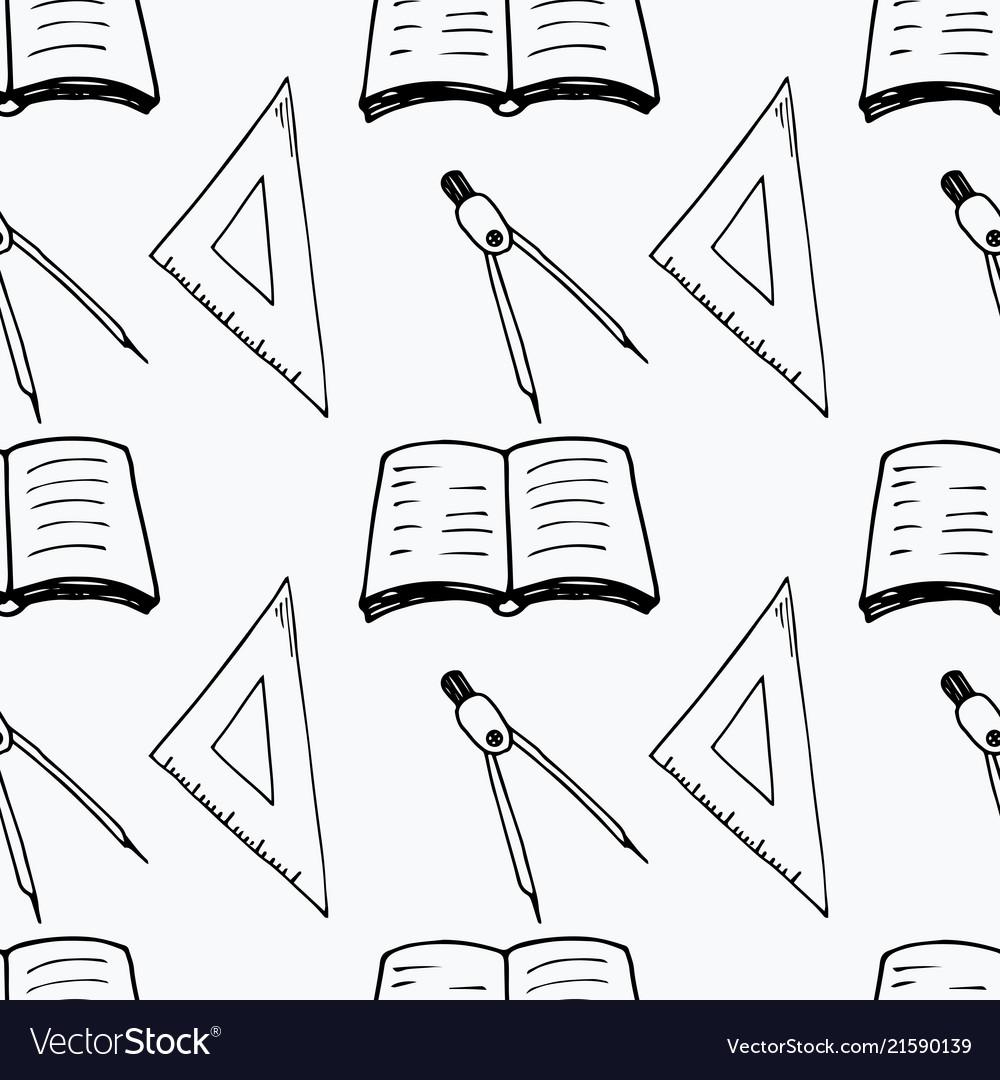 Back to school pattern in cartoon style