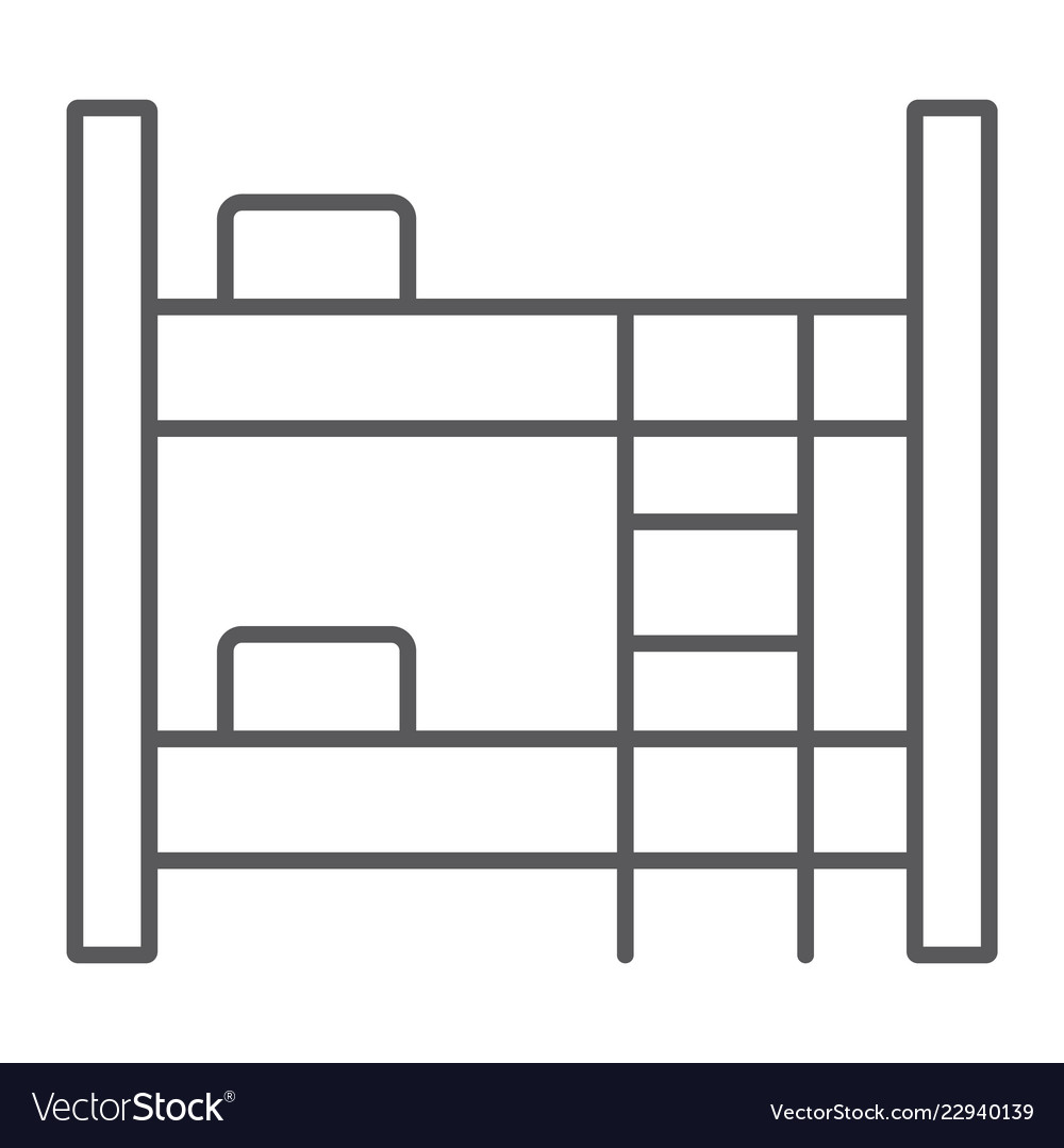 Bunk bed thin line icon furniture and home bed