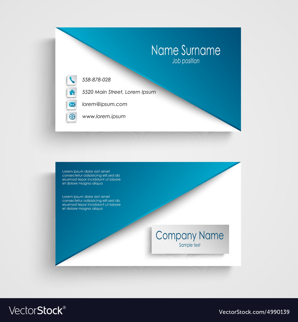 Business card with blue white background template vector image accmission Gallery