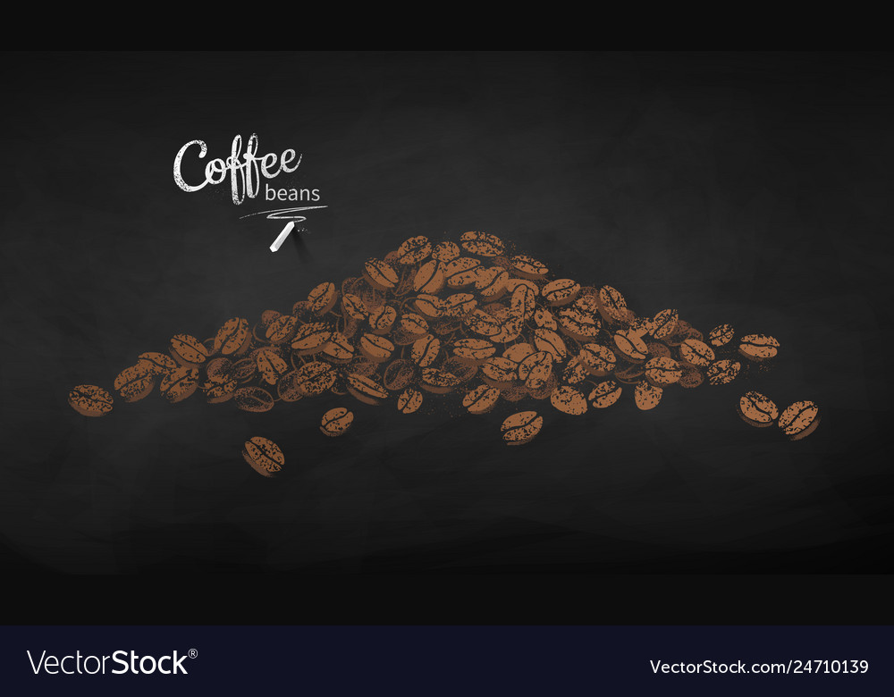 Chalk drawn sketch of pile of coffee beans