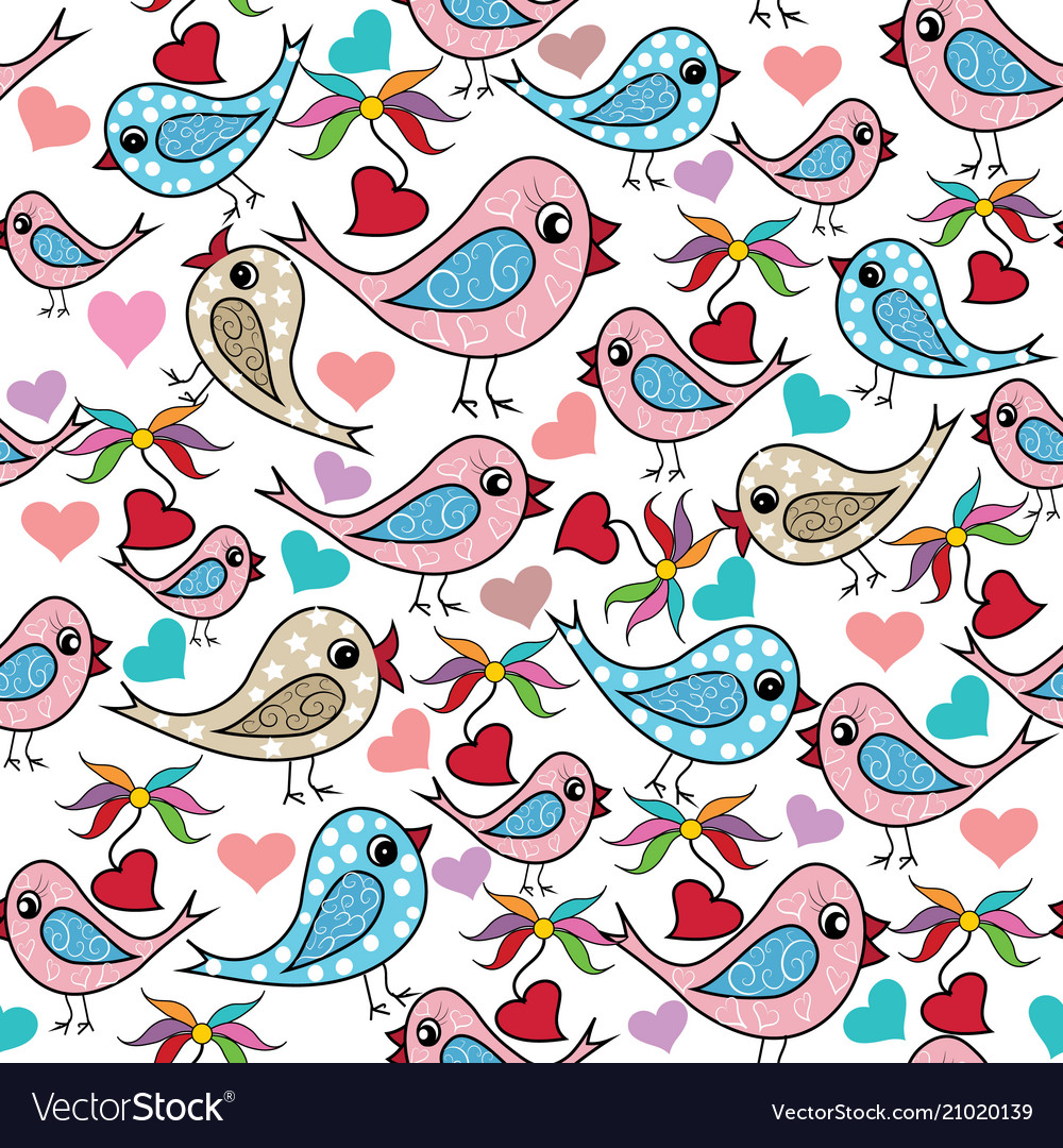 Colorful doodle hand drawn birds love hearts