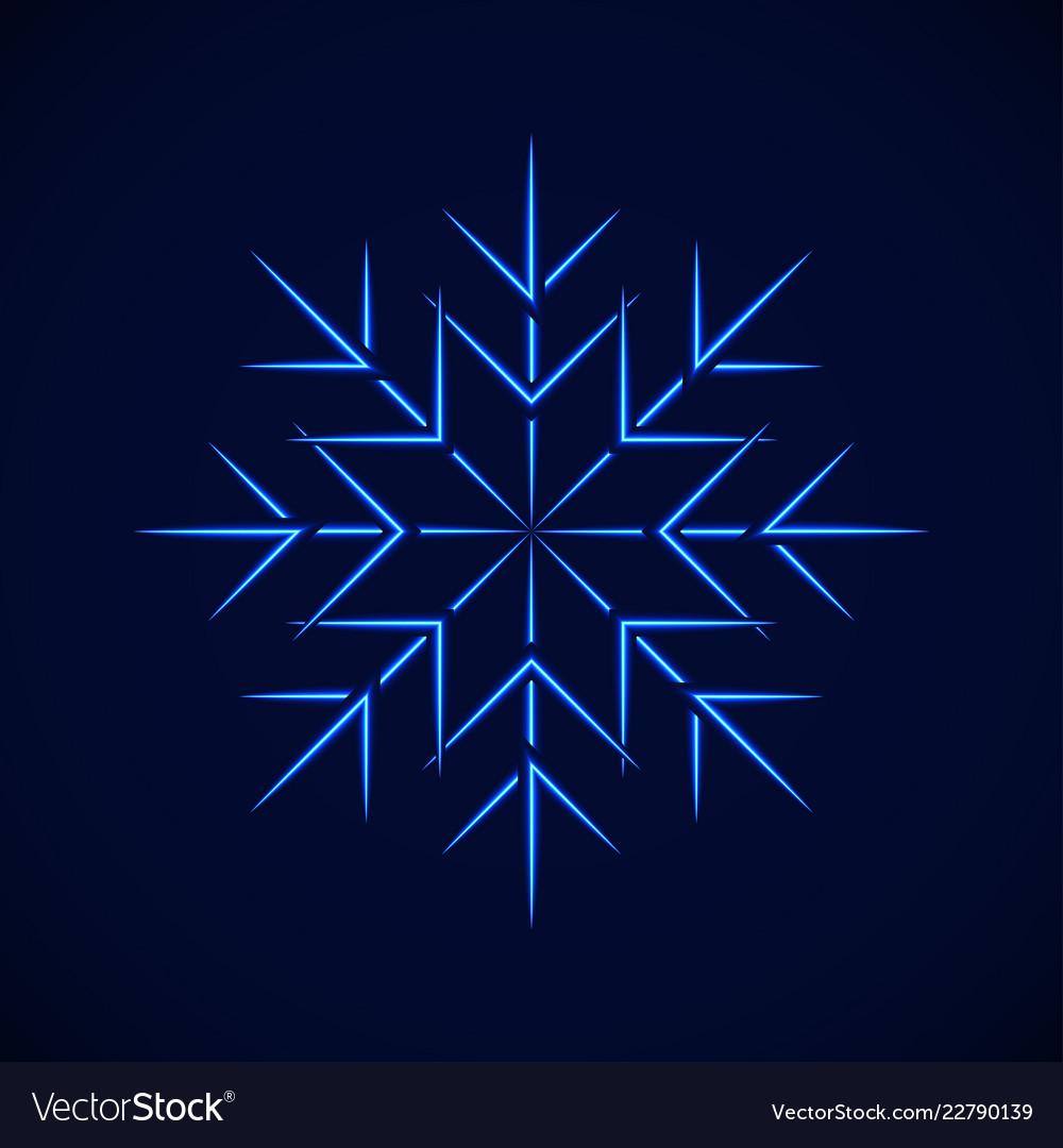 Crystal blue simple snowflake on blue