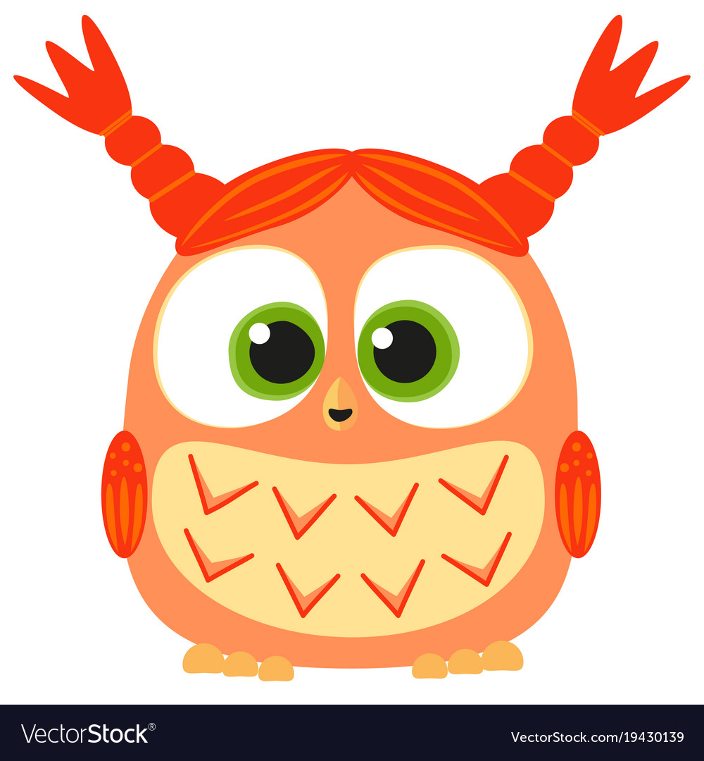 Cute baby girl owl colorful poster