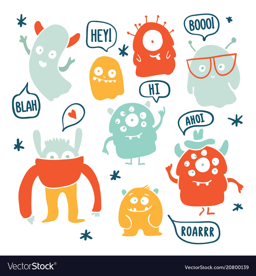 Cute monsters and ghosts colorful doodles