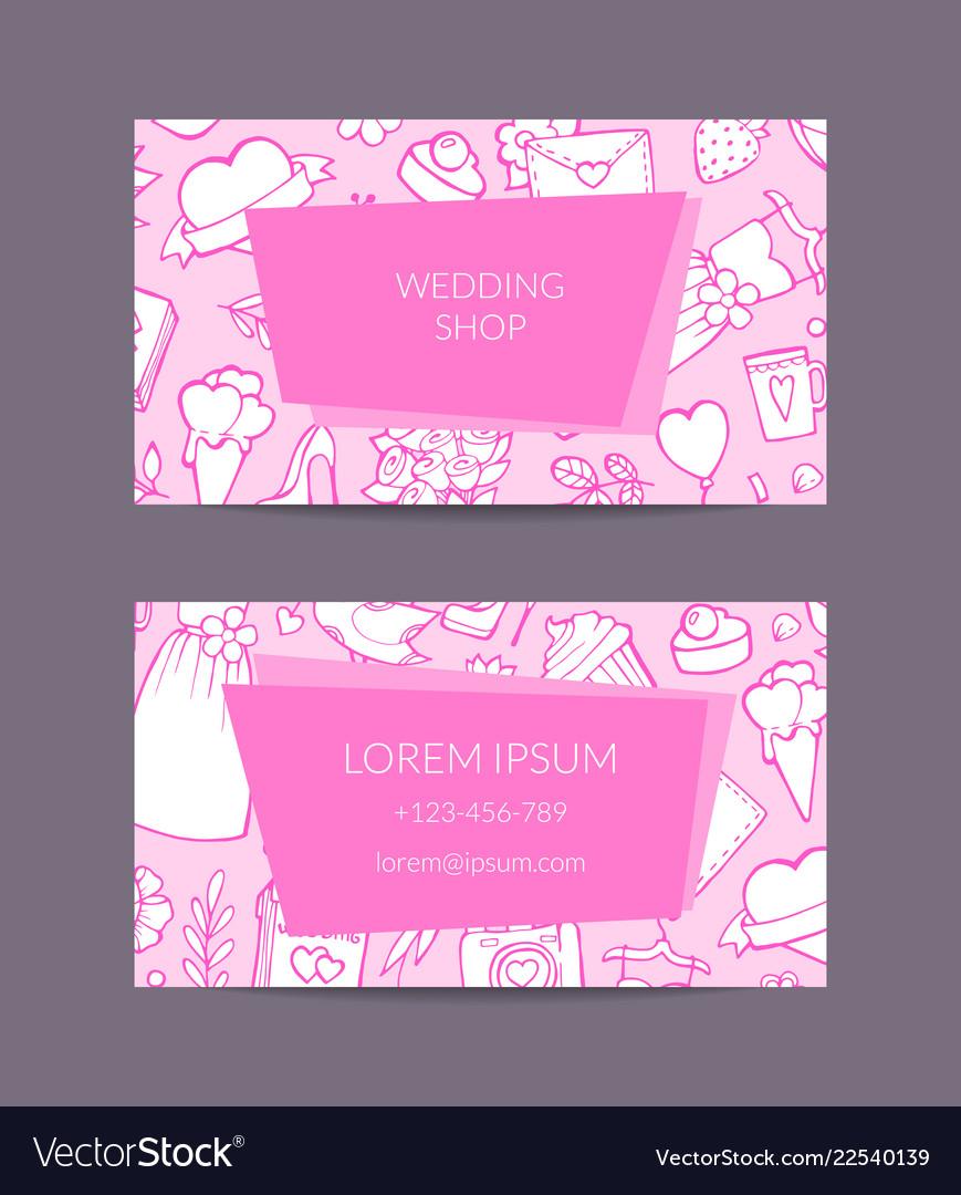 Doodle wedding elements business card