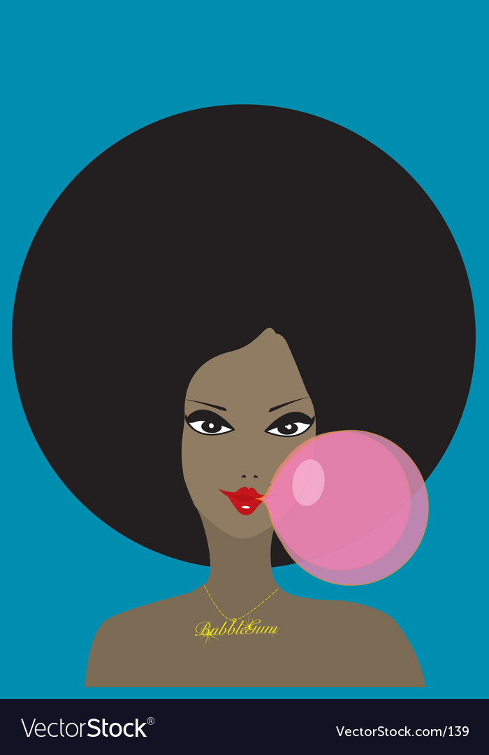 Funky girl and bubble gum