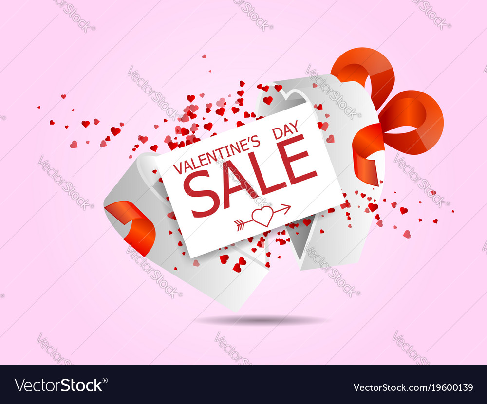 Happy Valentines Day Sale With Hearts Flying From Vector Image