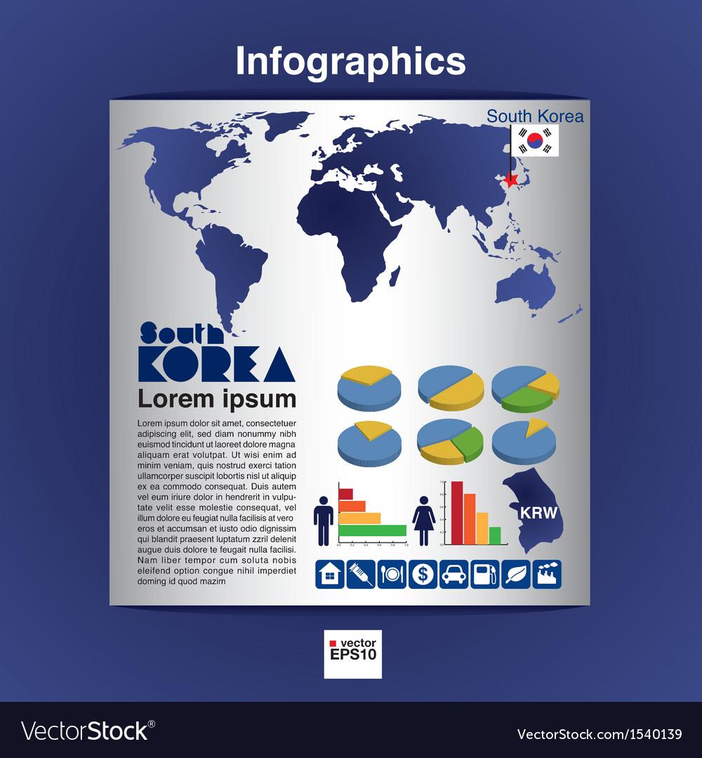 Infographics map of South Korea EPS10 vector image