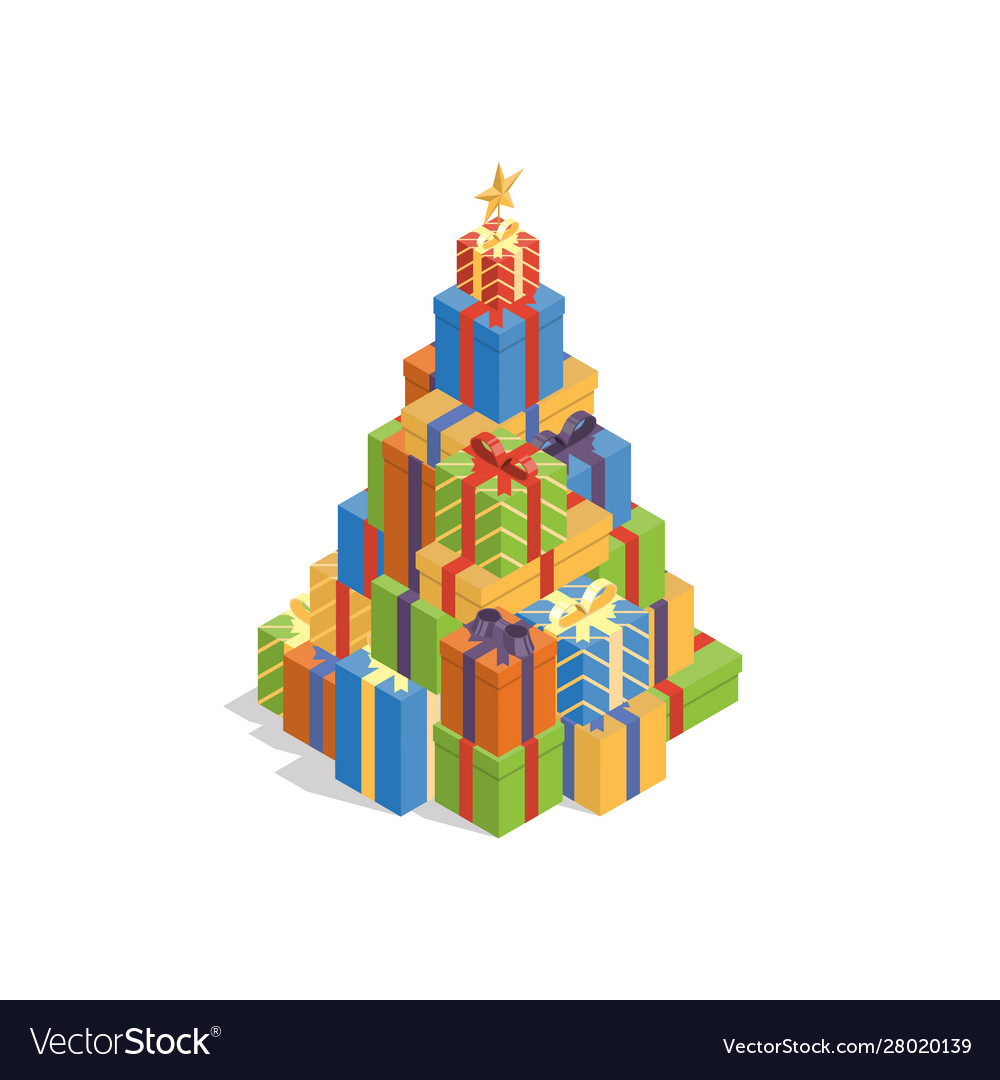 Isometric gift box christmas tree vector
