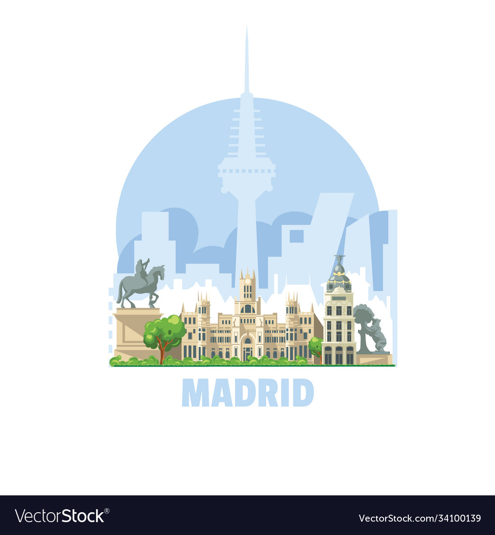 Madrid city skyline spain one most