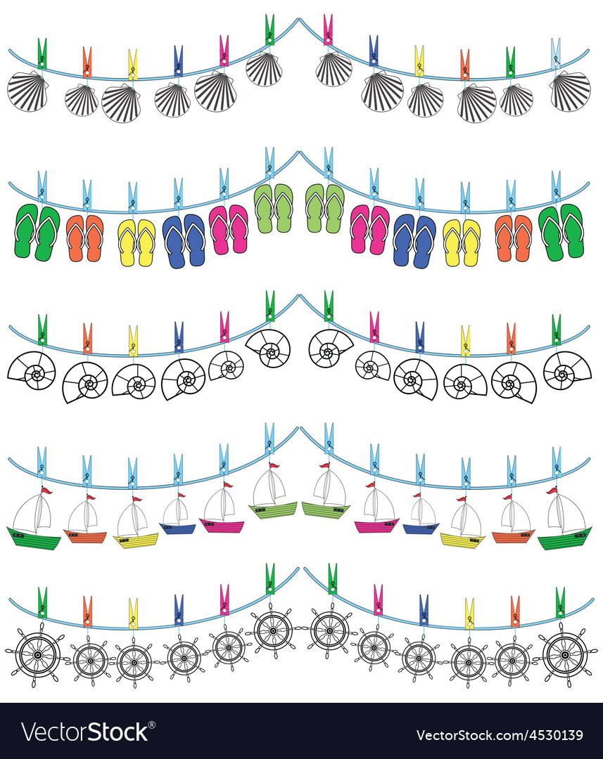 Nautical holiday bunting vector image