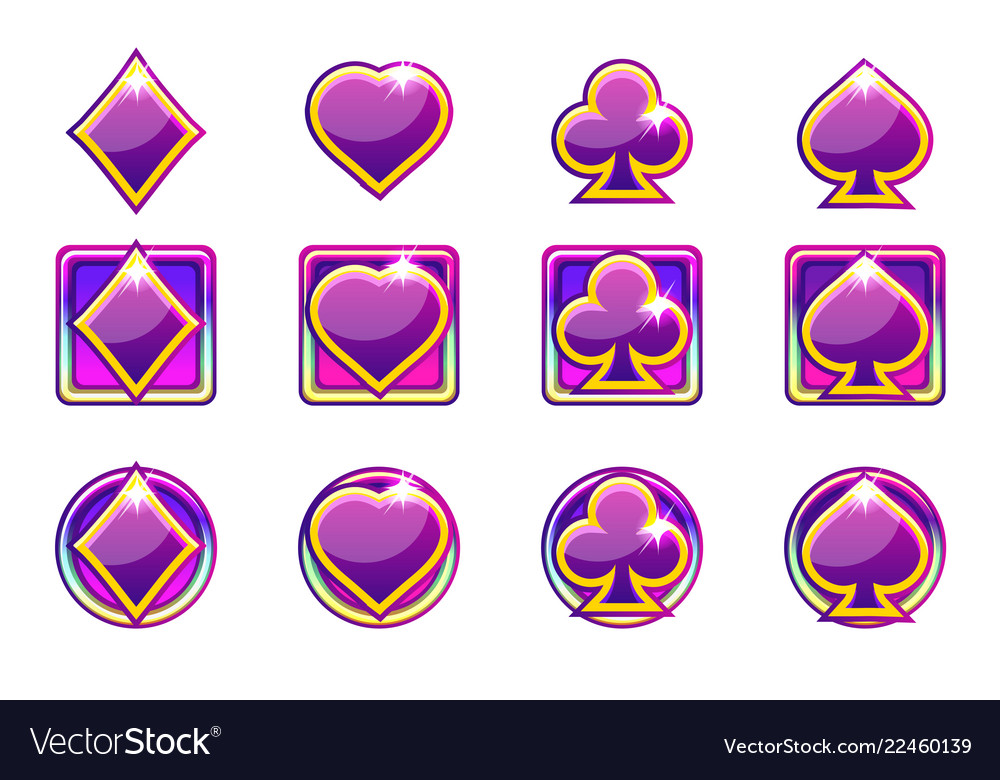 Poker symbols of playing cards in purple