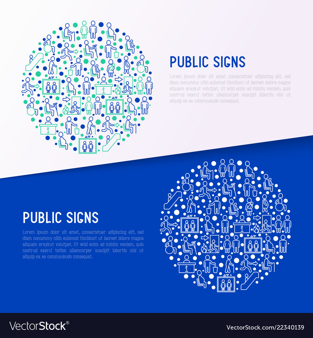 Public signs concept in circle thin line icons