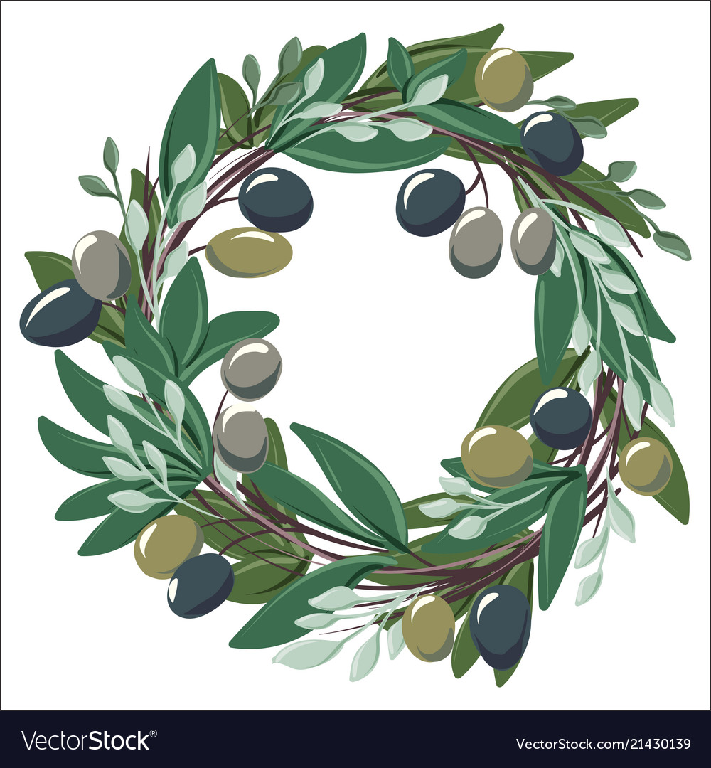 Round wreath with olive leaves and olives