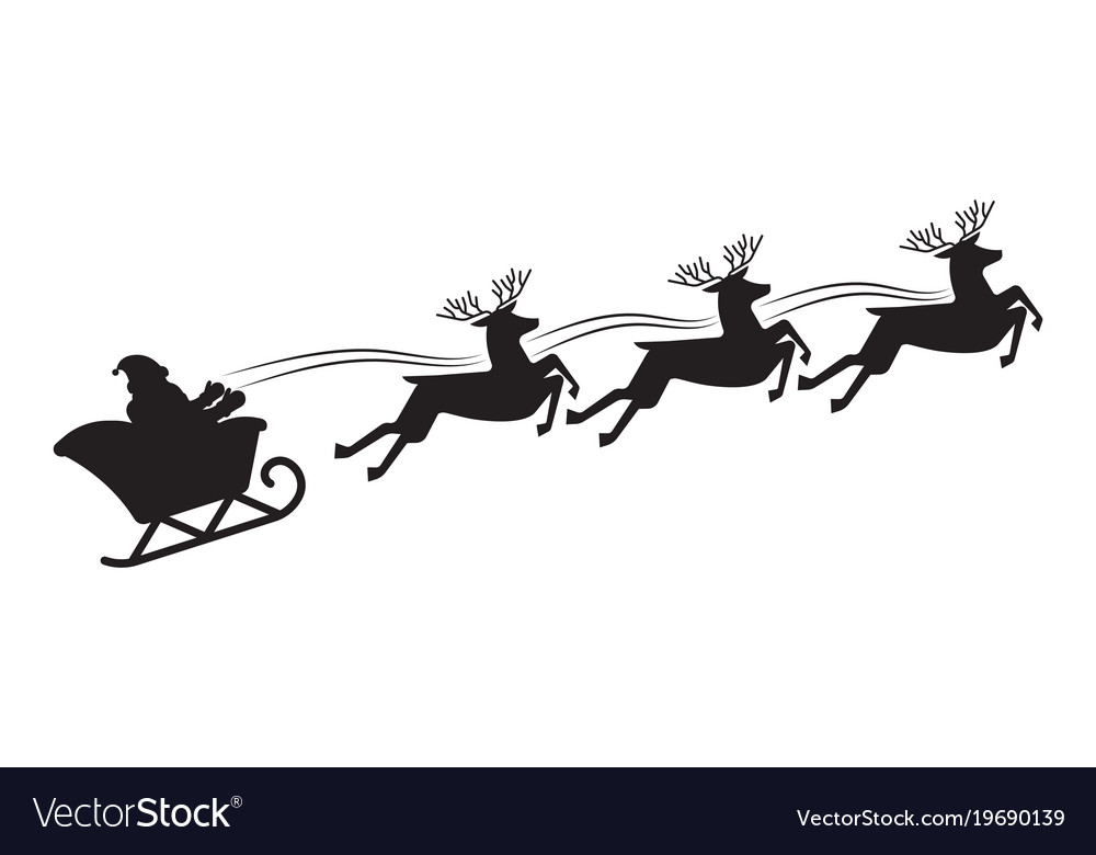 Santa Flying In A Sleigh With Reindeer Vector Image