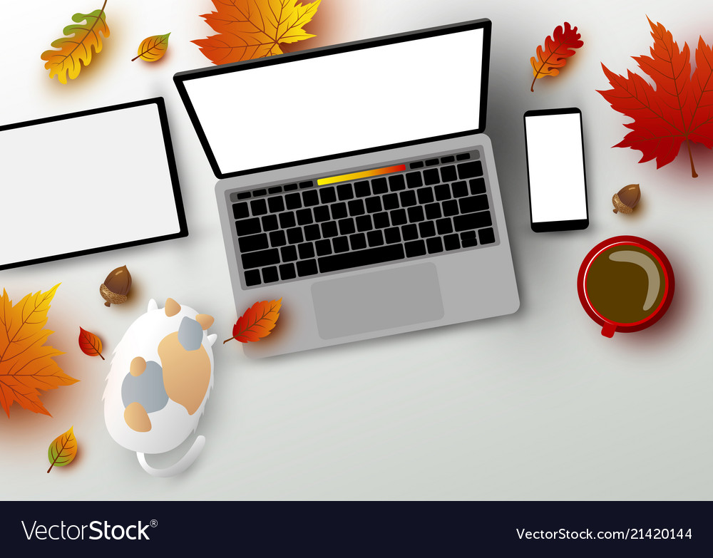 Autumn concept of workspace