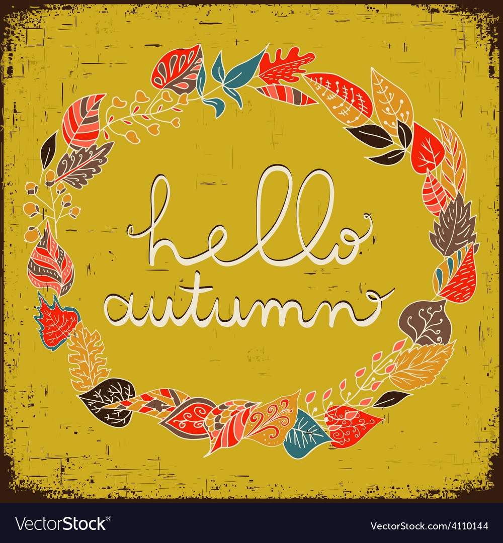 Autumn floral frame with leaves and text hello