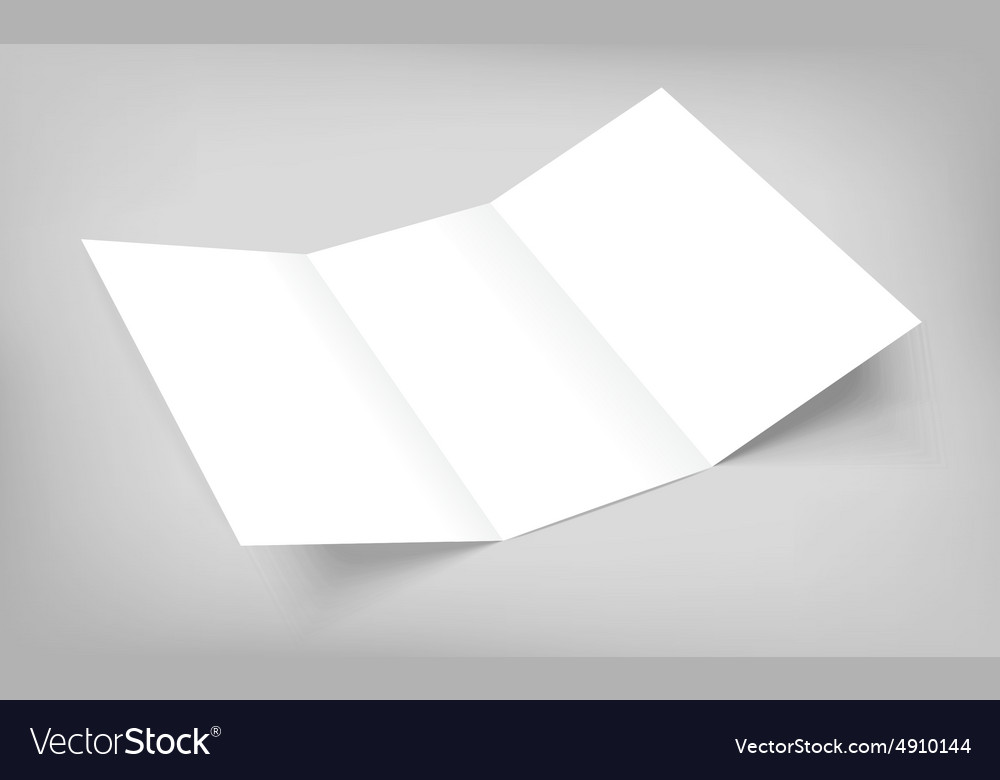 blank tri fold paper flyer on gray royalty free vector image