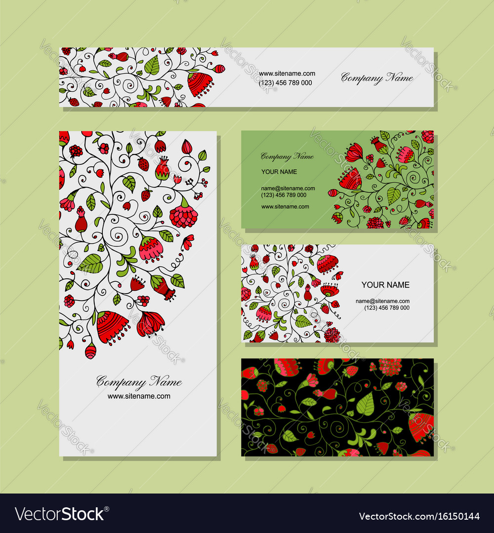 Business cards design floral background Royalty Free Vector