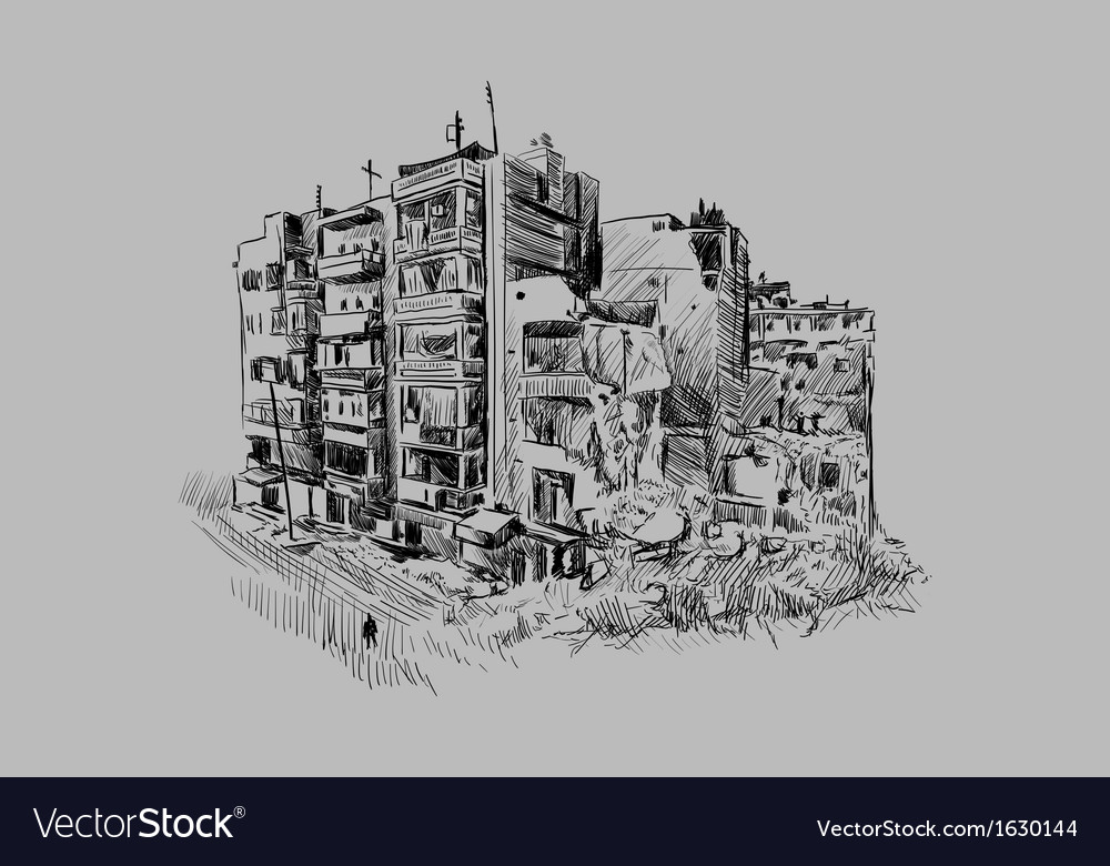 Destroyed building vector image