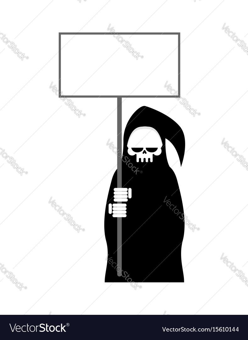 Grim reaper with empty billboard plate death in