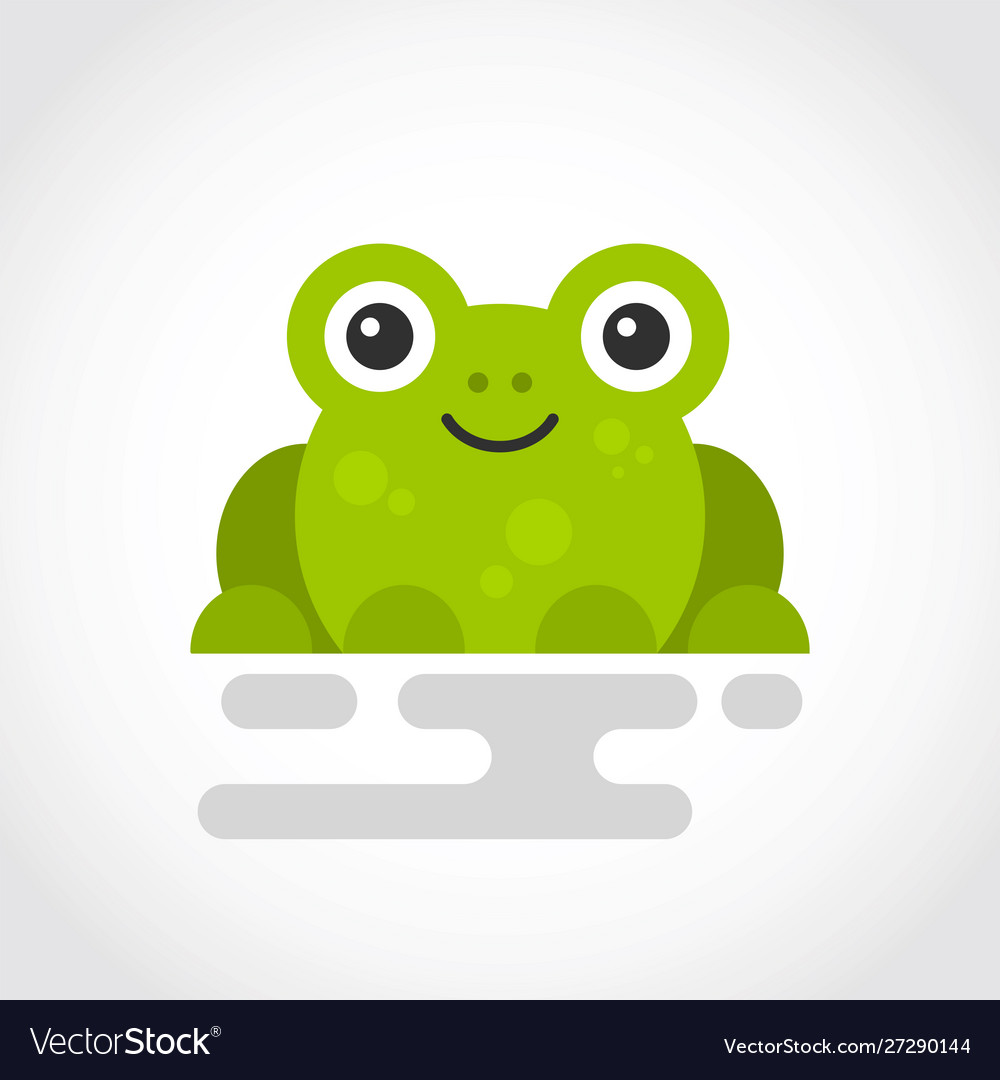 Icon a cute green frog in flat design