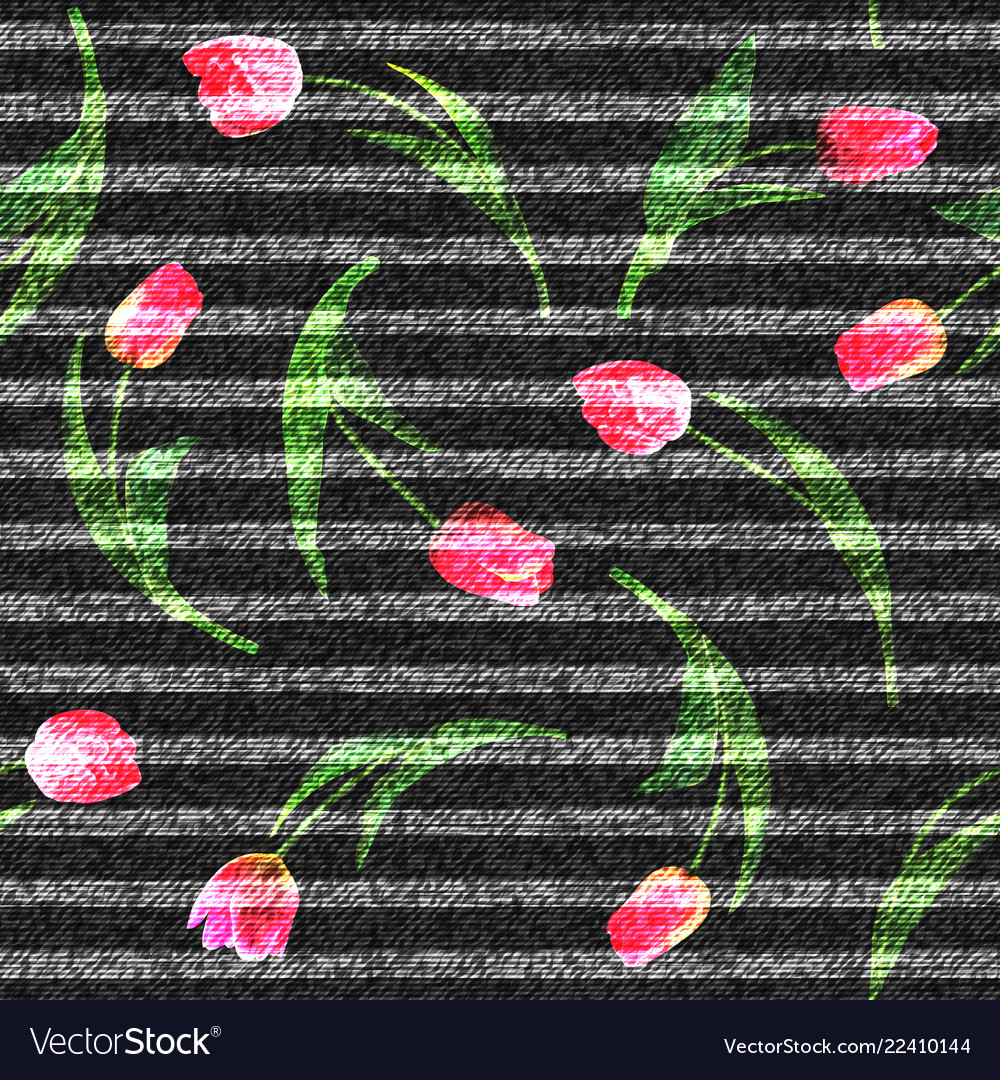 Jeans flowers tulip seamless background