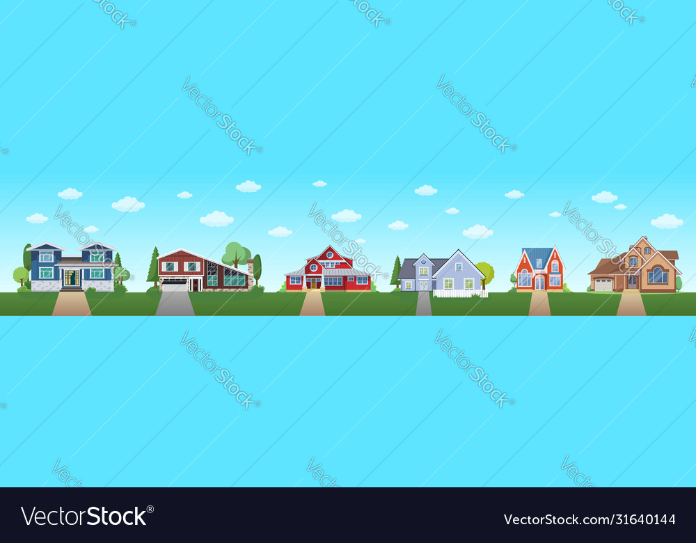 Modern cottage house set with blue sky and clouds
