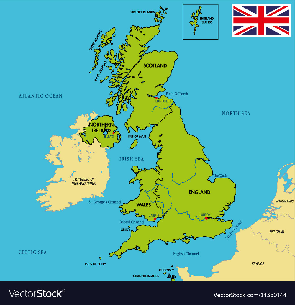 Political Map Of Uk Political map of united kingdom with regions Vector Image Political Map Of Uk