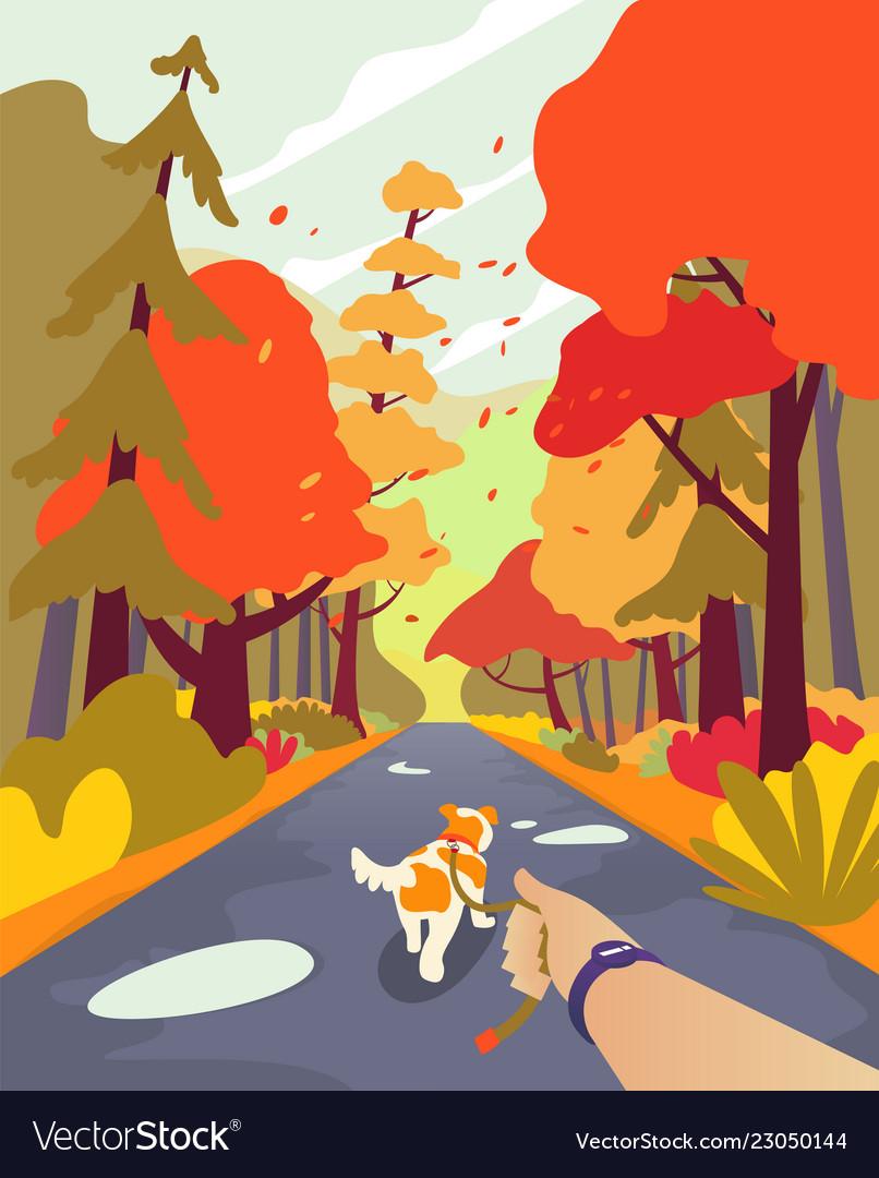 Simple cartoon people autumn park walk the dog