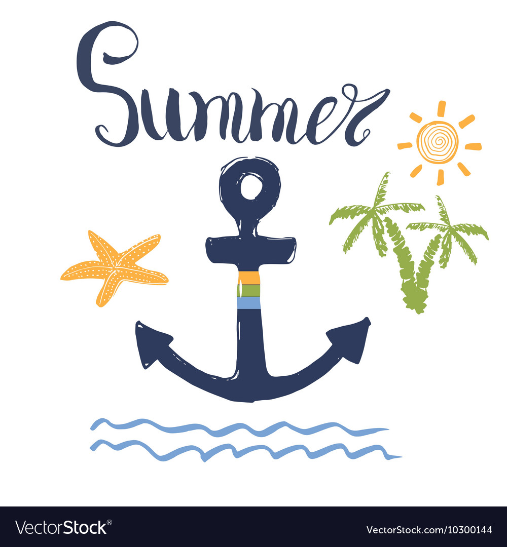 Summer Anchor Palms and Lettering Isolated