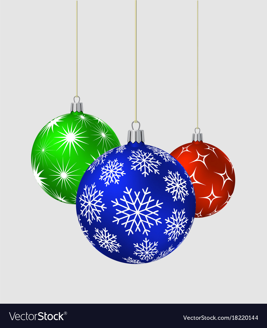 Three christmas balls with different patterns