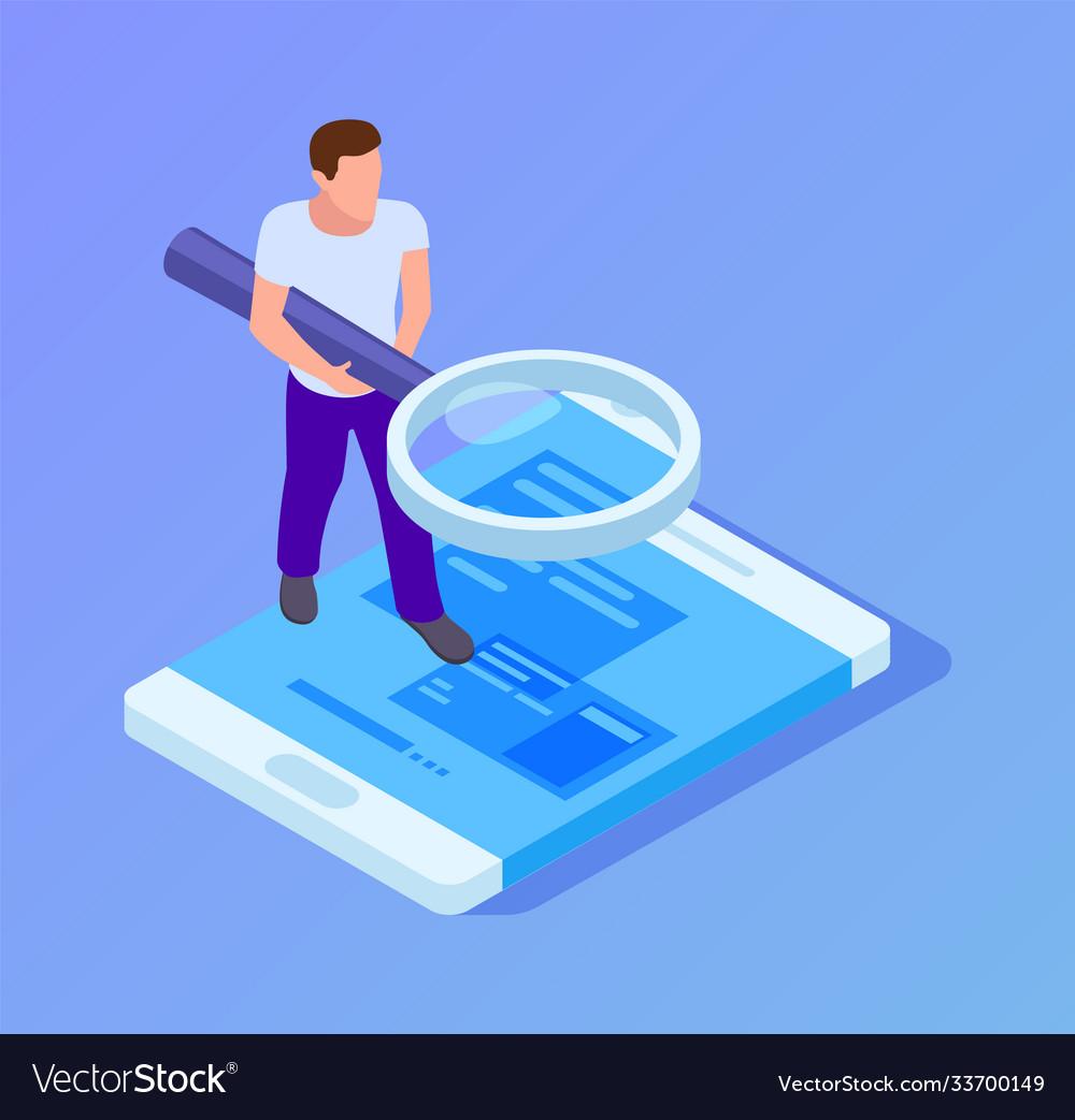 App tester isometric man testing mobile man
