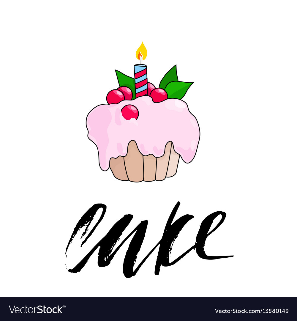 Birthday cupcake with burning candle pink berry