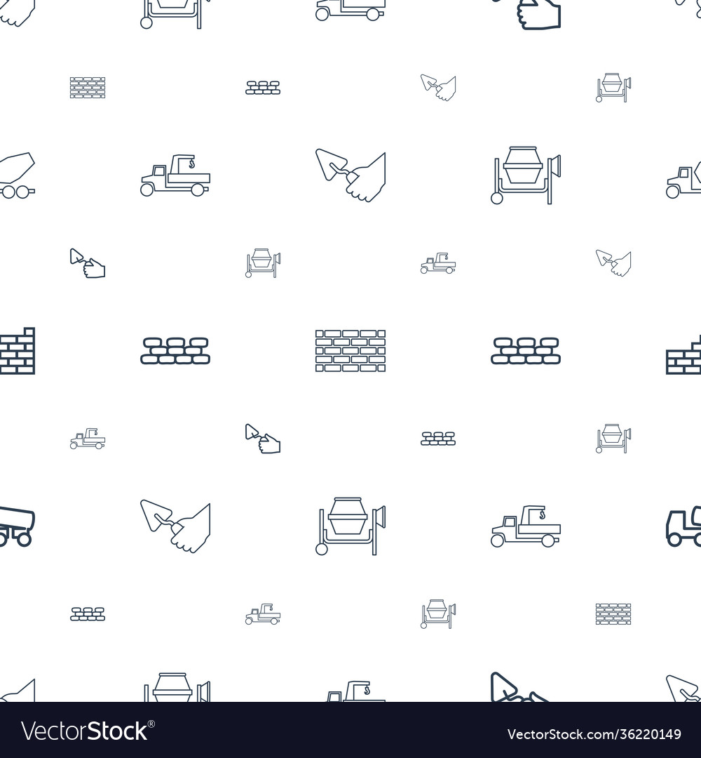 Cement icons pattern seamless white background
