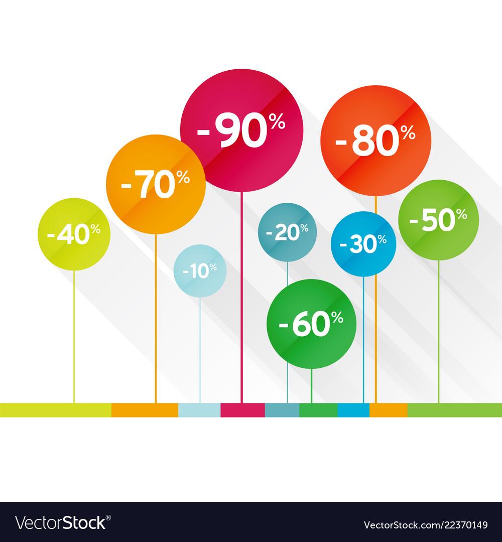 Color symbol percent discounts icon