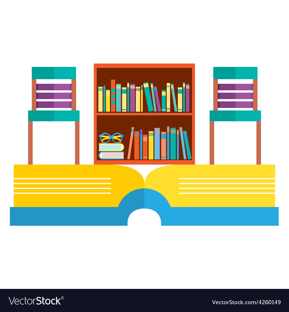 Colorful Chairs And Bookcase On Huge Book