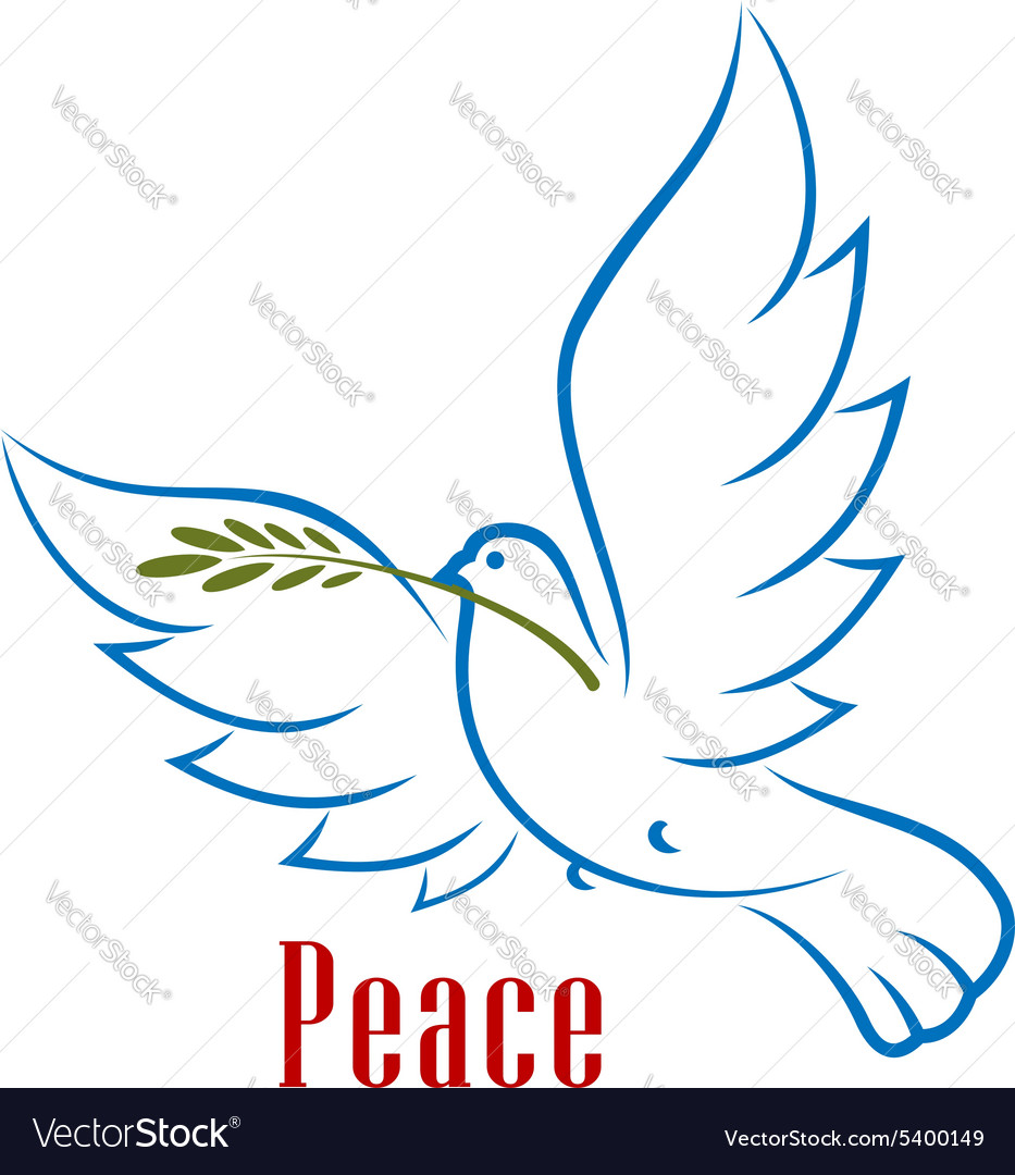 Dove carrying green olive branch vector image