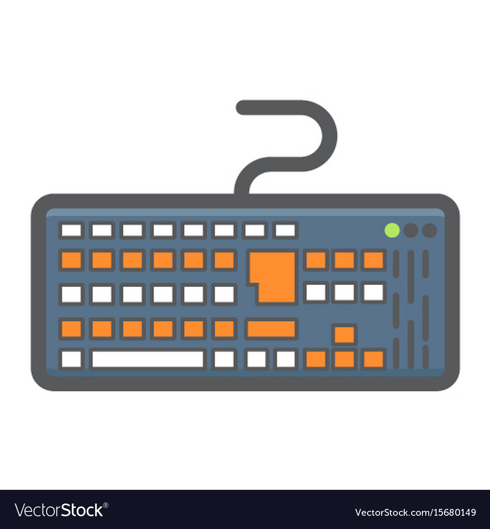 Keyboard colorful line icon button and device