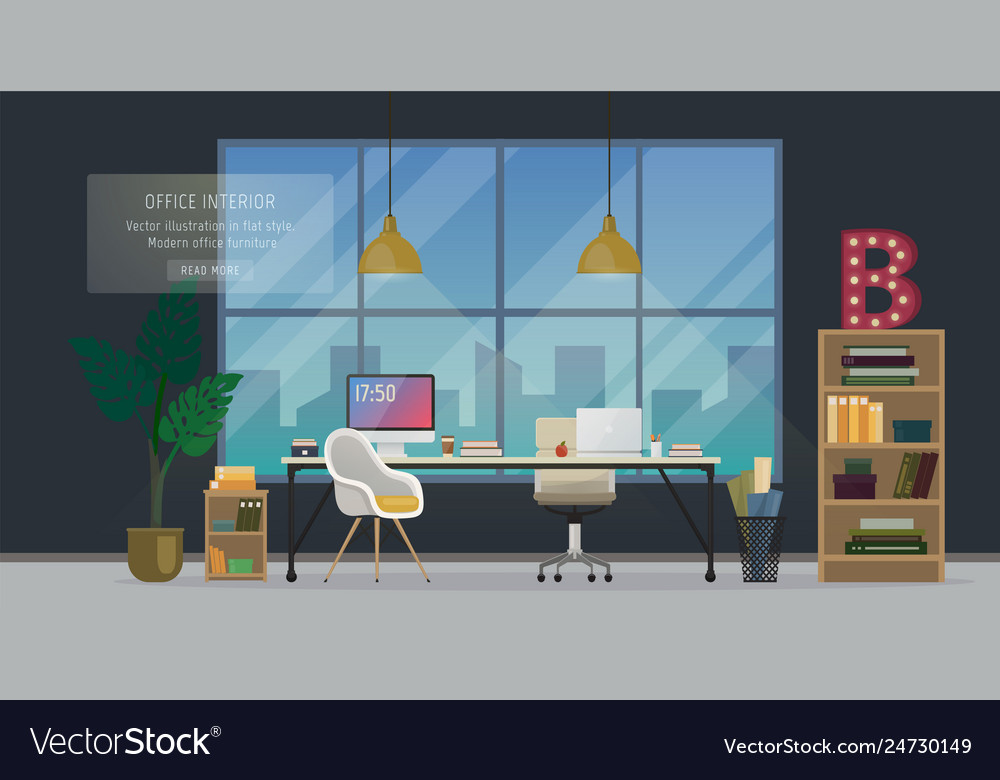 Modern Office Interior Royalty Free Vector Image