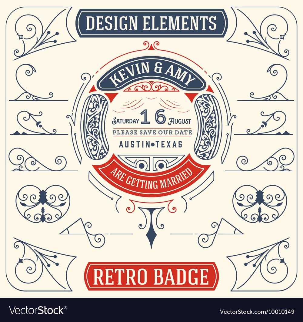 Old Badge Baroque Ornaments Design Elements vector image