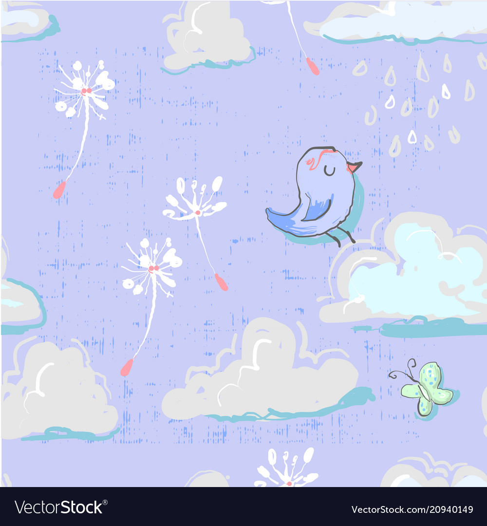 Seamless pattern with cute clouds with bird and