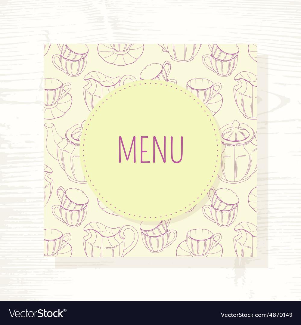 tea room menu template with tea service in vector image