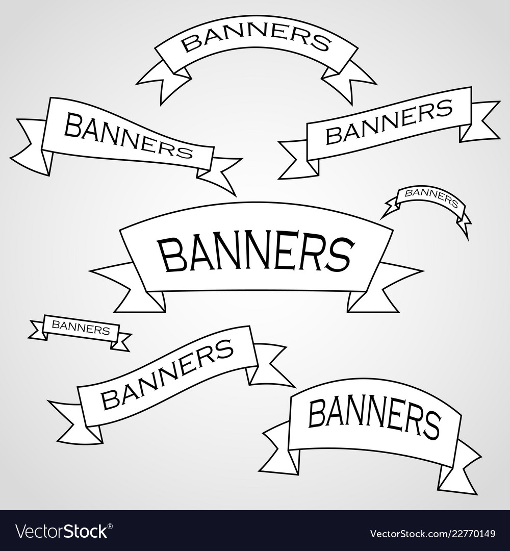 The original banners and ribbons of emblems and