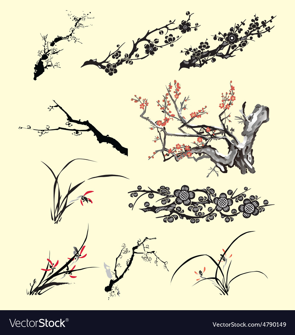 Tree Branch Oriental Ink Painting Royalty Free Vector Image