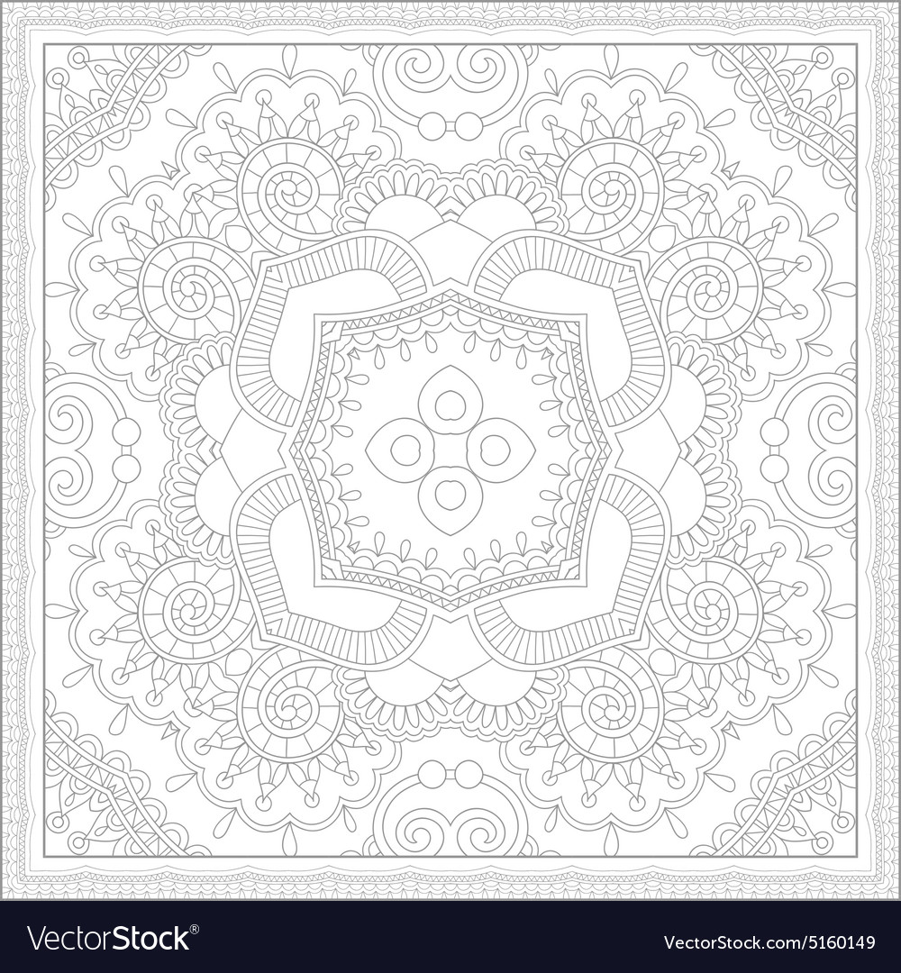 Unique Coloring Book Square Page For Adults Vector Image
